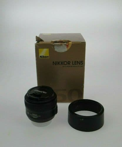 Nikon Nikkor AF-S 50mm f/1.8G Camera Lens With Lens Cap & Hood HB-47 Boxed